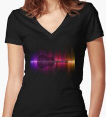 Sound Wave Guitar Women's Fitted V-Neck T-Shirt