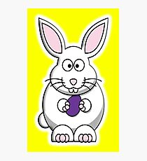 Easter Bunny, Rabbit, Cartoon, on Yellow Photographic Print