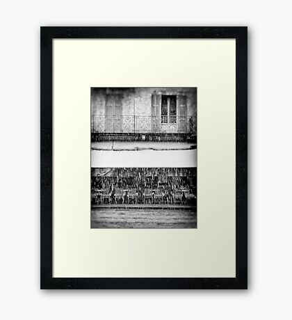 Italian cafe on a snowy day Framed Print