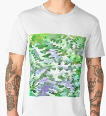 Foliage Abstract In Green and Mauve Men's Premium T-Shirt