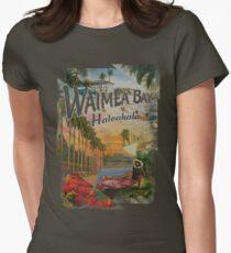 Vintage Hawaiian Waimea Bay, Haleakala, Postcard  Women's Fitted T-Shirt