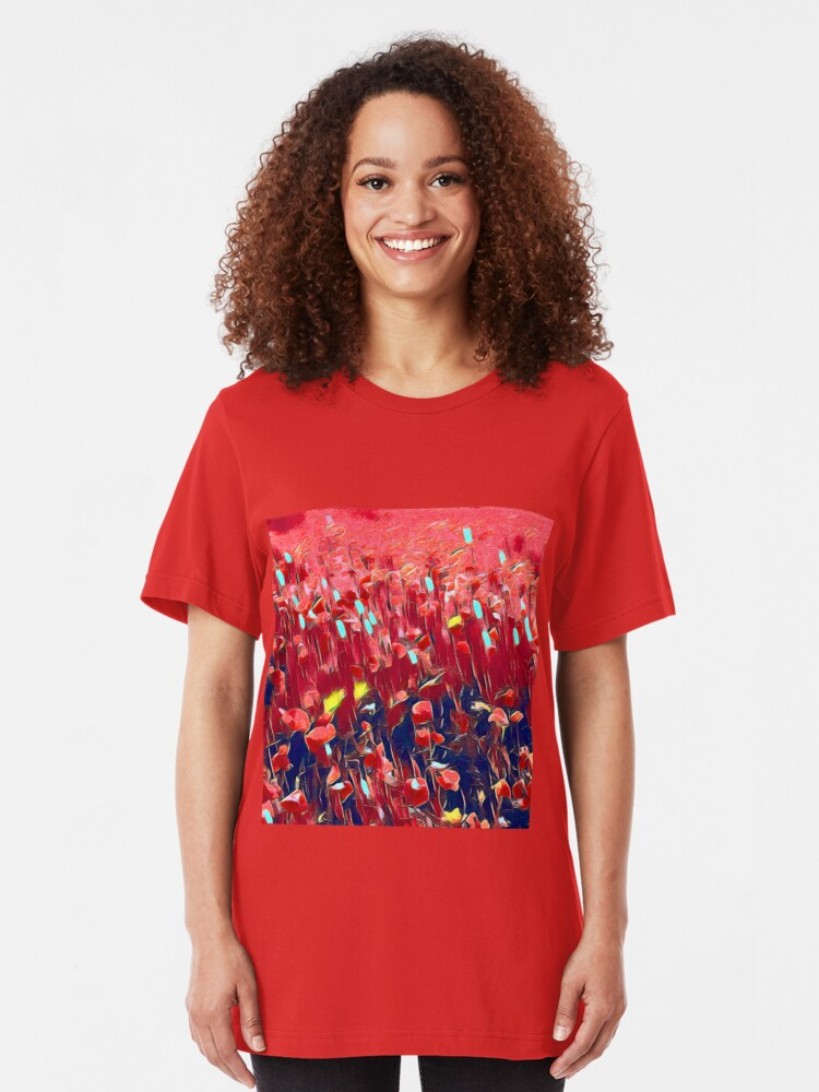 Alternate view of Magical poppy field Slim Fit T-Shirt