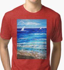 Sailing on the sea ocean beach  Tri-blend T-Shirt