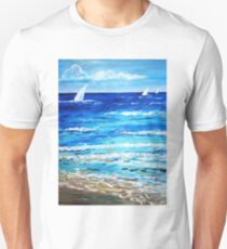 Sailing on the sea ocean beach  Unisex T-Shirt