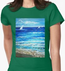 Sailing on the sea ocean beach  Womens Fitted T-Shirt