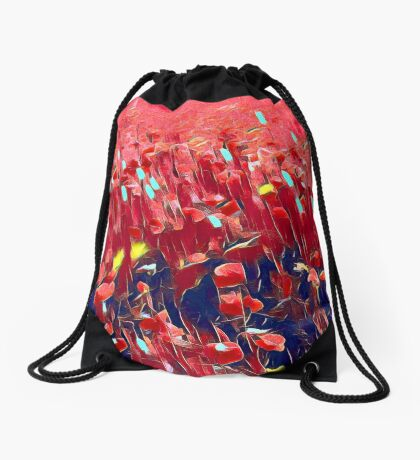 Magical poppy field Drawstring Bag