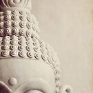 Cropped Stone Buddha Head Statue. by Lyn  Randle