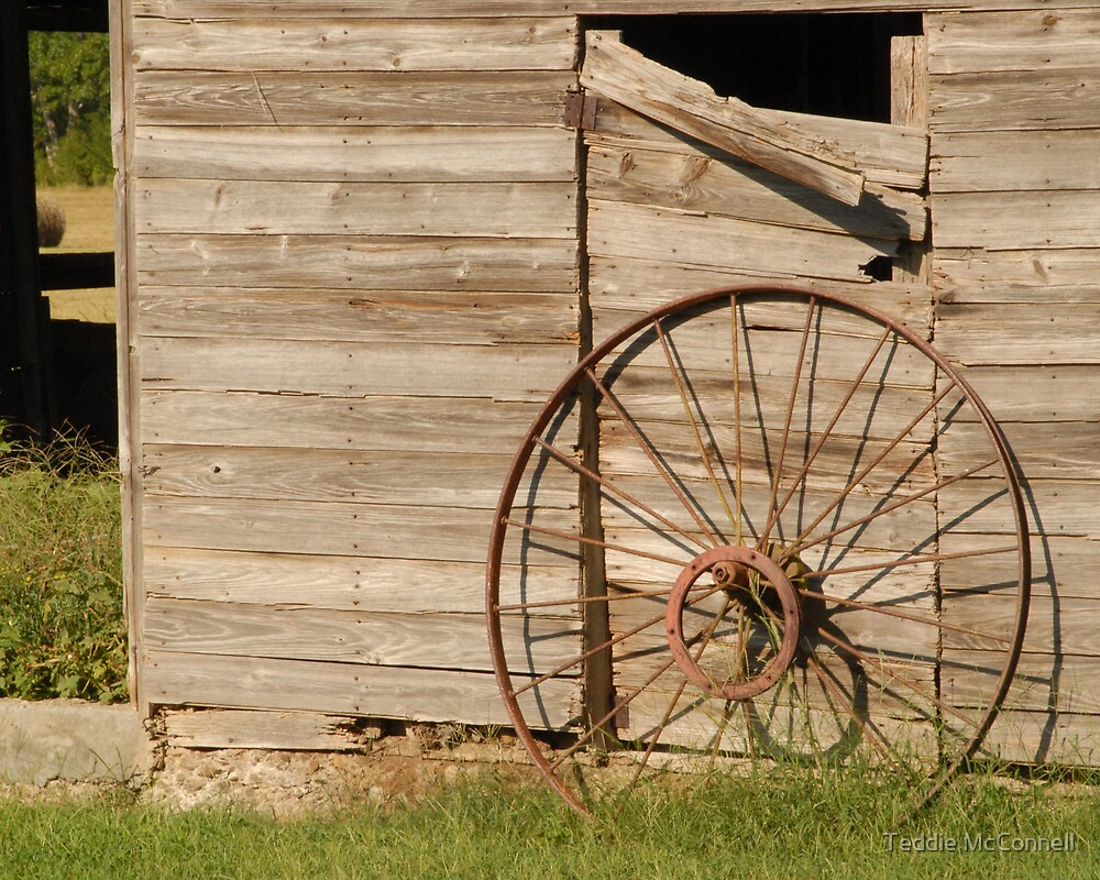 Barndoor with Wagon Wheel by Teddie McConnell