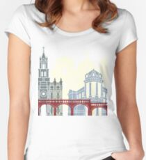 Cuenca EC skyline linear style with rainbow Women's Fitted Scoop T-Shirt