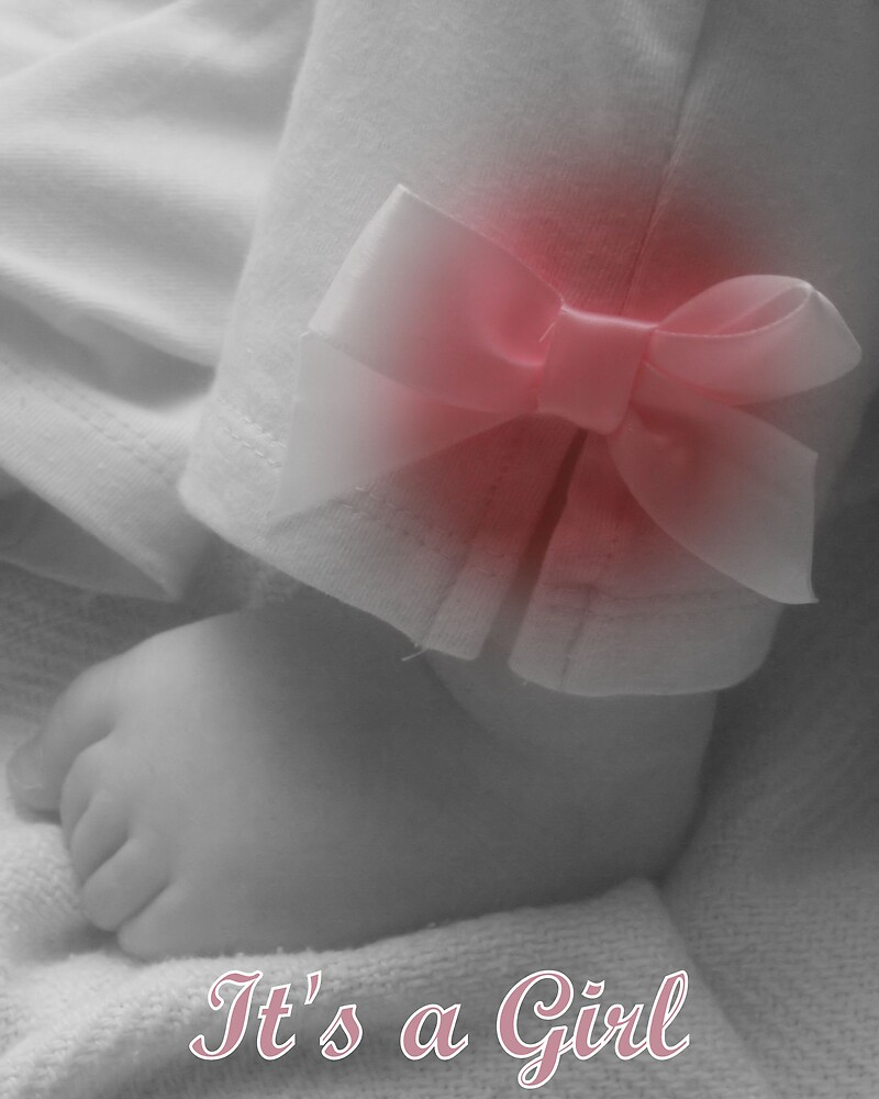 Birth Announcement or Baby Shower Card (girl) by Stacey Milliken