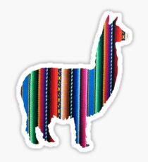 Llama Textile Design Inca Ink Original South American Inca Textile BG Sticker