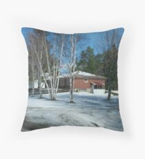 A Winter Drive By Throw Pillow