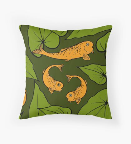 Koi Pond Pattern Throw Pillow