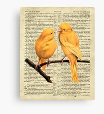 Yellow Canaries On Psalm 91 Canvas Print