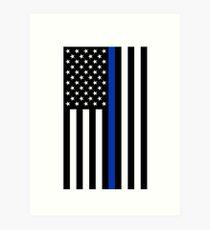 Thin Blue Line Police Flag Art Print