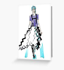 fashion #62: Girl with blue hair and a skirt-origami Greeting Card