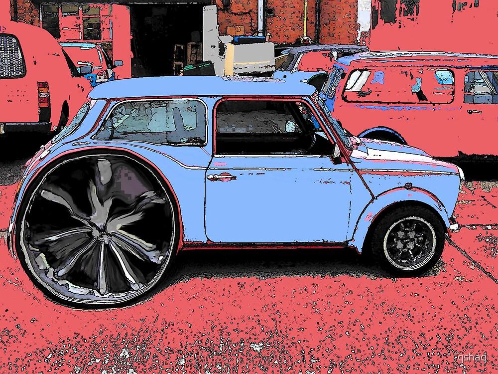 Blue Mini Mega Wheel On a Pink Background by qshaq
