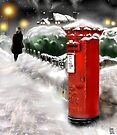 Traditional Christmas Illustration: Red Post Box in Snow by Grant Wilson