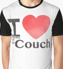 I Heart Sitting On The Couch Graphic T-Shirt