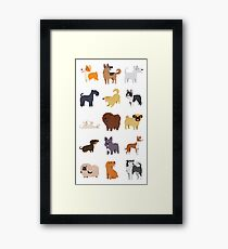Dog Breeds Pattern Framed Print