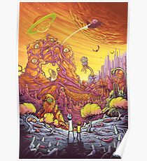 Rick and Morty alien landscape Poster
