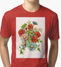 roses and daisy flower Tri-blend T-Shirt