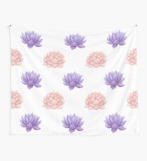Watercolor Pink and Purple Succulent Pattern Wall Tapestry