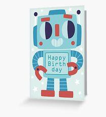 Happy Birthday Robot Card Design Greeting Card