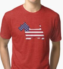 American Flag – Scottish Terrier Tri-blend T-Shirt
