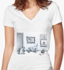 Happy Home  Women's Fitted V-Neck T-Shirt