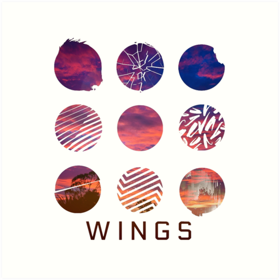 bts wings logo sunset art prints by bballcourt redbubble