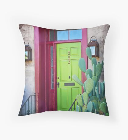 Tucson green door Throw Pillow