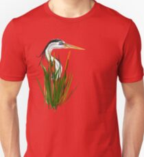 Blue Herons Head In Cattails Unisex T-Shirt