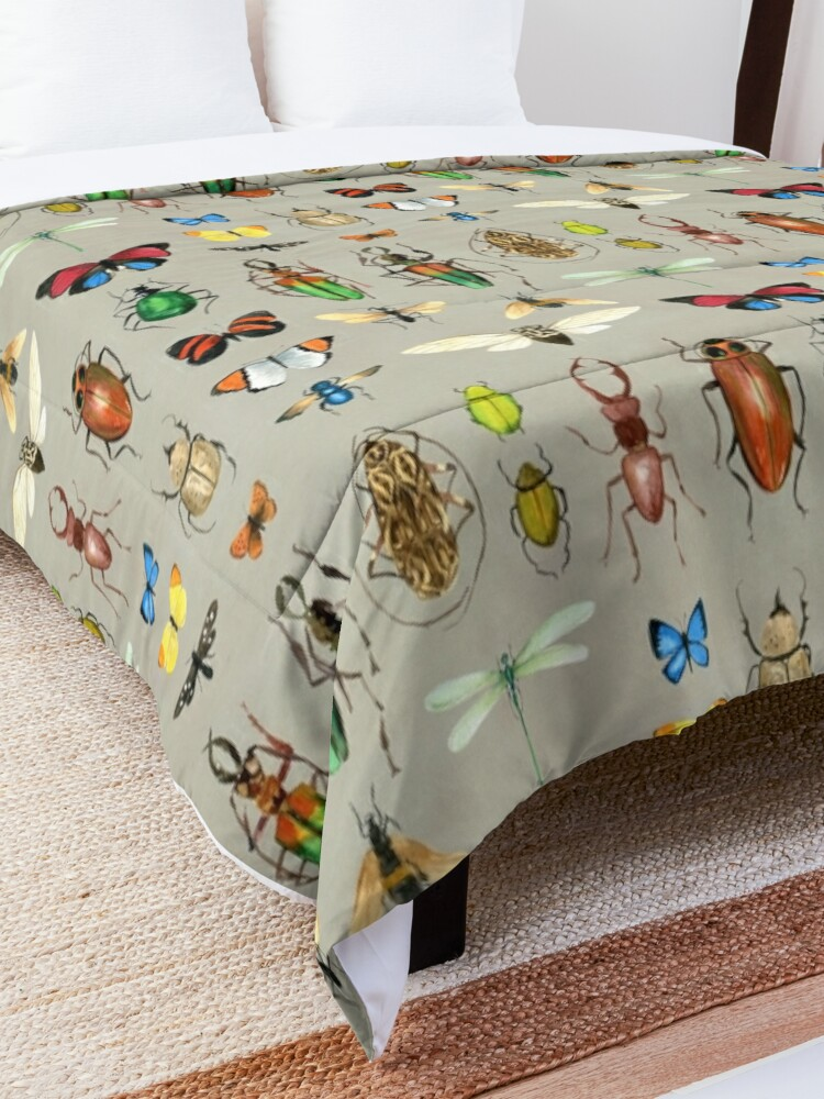 Alternate view of The Usual Suspects - Insects on grey - watercolour bugs pattern by Cecca Designs Comforter