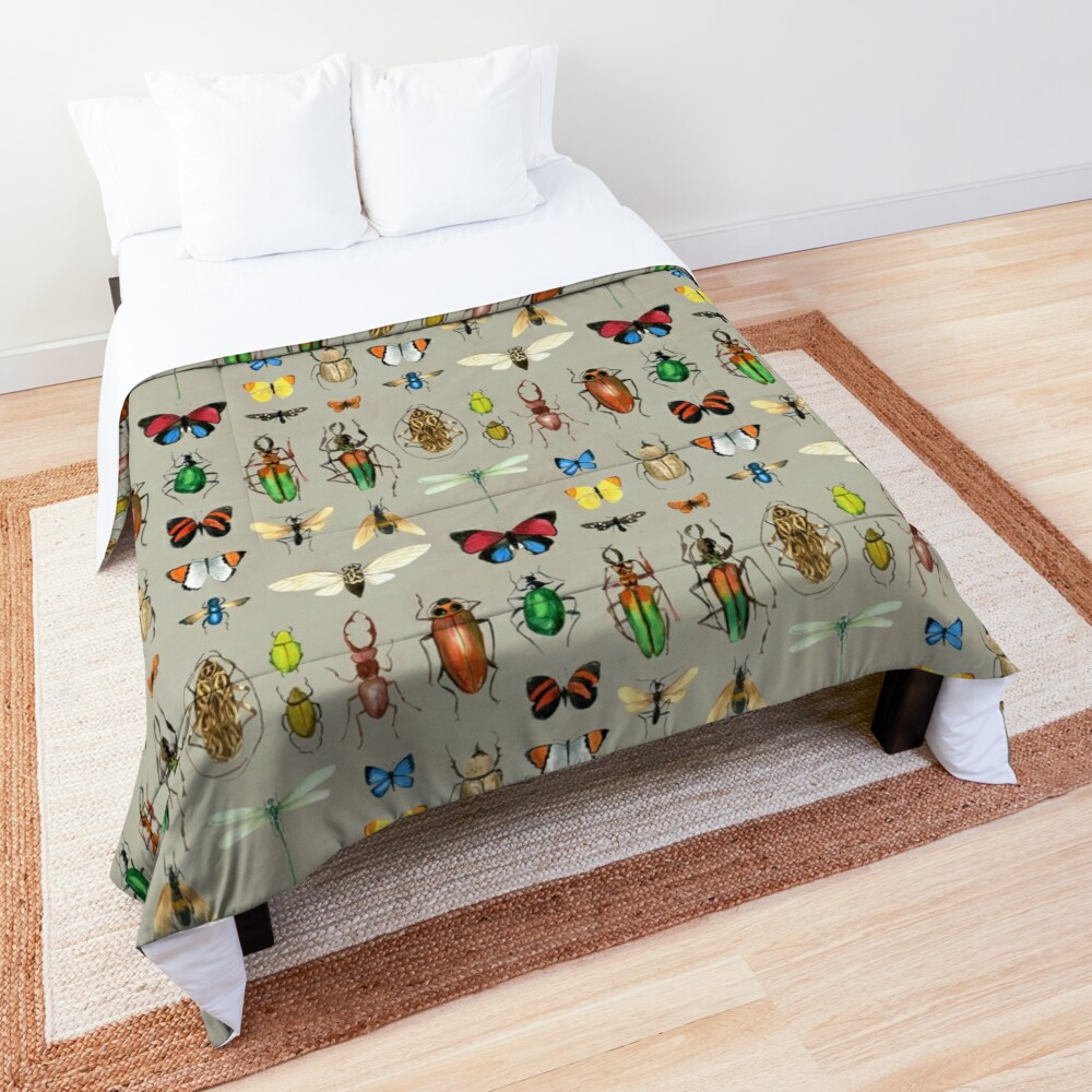 The Usual Suspects - Insects on grey - watercolour bugs pattern by Cecca Designs Comforter