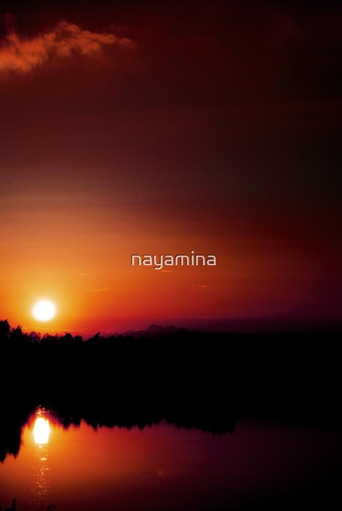 Deep Sunset over lake by nayamina