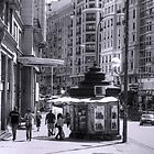 Newspaper Stand on the Gran Via - B&W by Tom Gomez