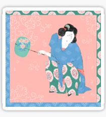Asian woman with fan in traditional style Sticker