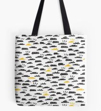 Yellow taxi stuck in city traffic Tote Bag