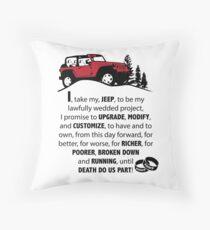 Jeep Wedding Vows Throw Pillow
