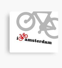 I Love Amsterdam - Red Bike Canvas Print