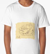 Pirate Treasure Map Sailing Ship Drawing Long T-Shirt
