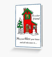 Friend God Bless House Christmas Greeting Card