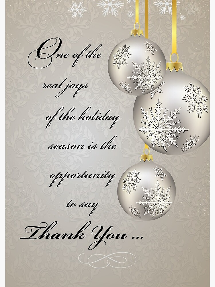 Business Thank You and Holiday Greetings with Gold Ornaments | Greeting Card