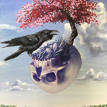 """""""Secondhand"""" Original Oil Painting with Raven and Floating Skull by sckuithe"""