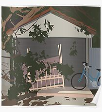 0047 Bicycle and mattress at the garage door Poster