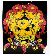 Floral Devil  And Fish Poster