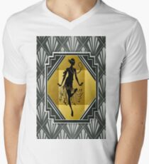Art Deco Flapper Roaring 20's Gatsby Style Print V-Neck T-Shirt