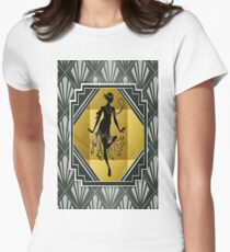 Art Deco Flapper Roaring 20's Gatsby Style Print Women's Fitted T-Shirt