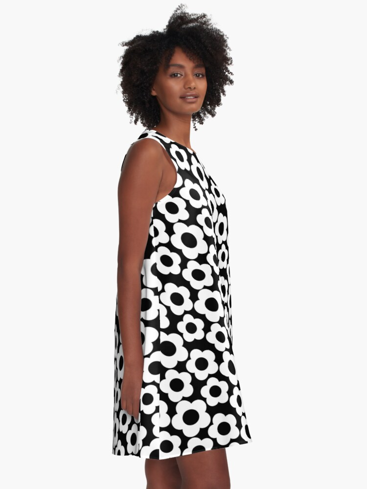 Alternate view of Retro Black and White Simple Flower Pattern A-Line Dress